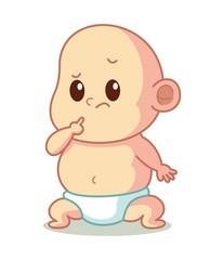 Thinking Baby Cartoon Vector Illustration