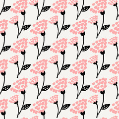 Wall Mural - Hand Drawn Floral Seamless Pattern