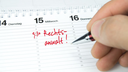 Rechtsanwalt / Termin im Terminkalender / Terminplaner