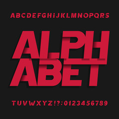 Decorative alphabet vector font. Oblique letters symbols and numbers. Typography for headlines, posters, logos etc.