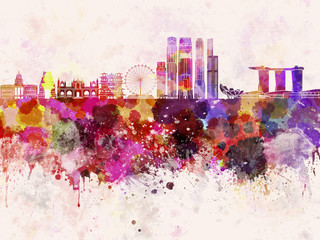 Fotomurales - Singapore V2 skyline in watercolor background