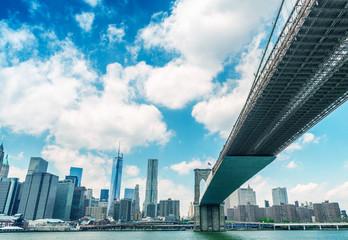 Brooklyn Bridge as seen from underneath