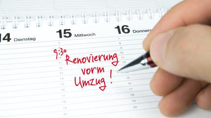 Renovierung vorm Umzug / Termin im Terminkalender / Terminplaner