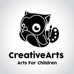 Owl logo, creative arts logo template.