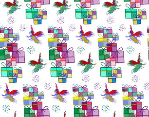 Silhouette of a rooster .  Cock sketch, hand drawing. Symbol of New Year 2017. Illustration for a  wrapping paper,  wallpaper. Christmas background. Seamless vector pattern.
