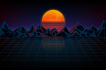 Futuristic background retro wave. Night digital landscape, moon, mountains and a laser grid, wave music.