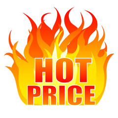 Hot price sticker, logo, label, sign