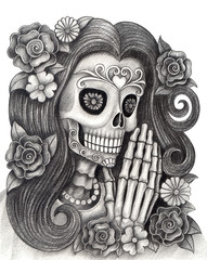 Women Skull art day of the dead. Hand pencil drawing on paper.