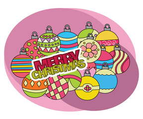 Christmas background design with decoration balls elements. Greeting card doodle vector illustration with lettering.