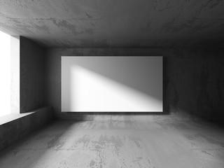 White blank banner billboard in dark concrete wall room