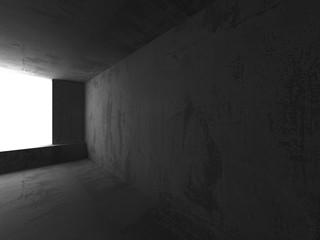 Empty dark concrete room interior. Architecture urban