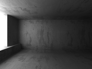 Dark concrete room basement interior. Abstract architecture