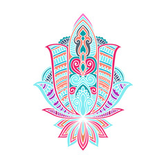 Vector ornamental Lotus flower, ethnic art, patterned Indian paisley. Hand drawn illustration. original design in doodle and zentangle style. Tattoo, astrology, alchemy, boho magic symbol.
