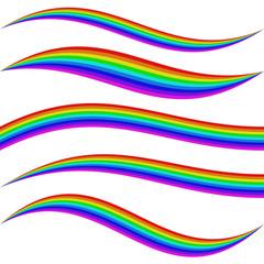 Stirped rainbow waves - graphic element set