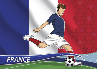 Soccer team player in uniform with state national flag of France