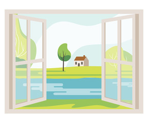 Open Window with a Landscape View