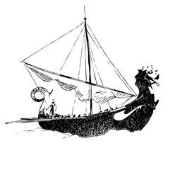 Viking ship. Graphics sketch.  Vector illustration