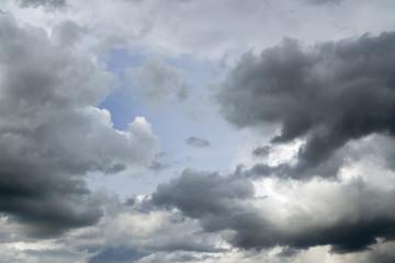 Gray clouds over horizon, cloudscape, storm.