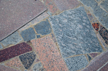 Background of the pavement with polished granite