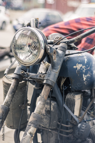 Vintage Motorcycle Headlight And Metal Toolbox Stock Photo And