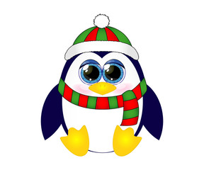 Cute cartoon penguin in  scarf and hat.  Vector illustration.