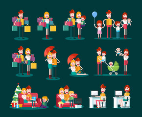 Family and Couple Scenes. Isolated Flat Vector Illustration on Dark Background.