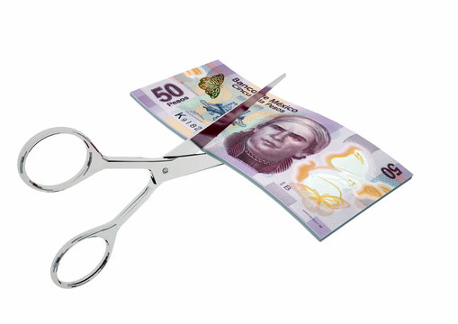 piles of 3D Rendered Mexico money with pair of Scissors isolated on white background