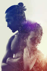 Double exposure : meditative muscular young man, young woman and forest. poster style relation concept