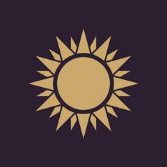 The sunshine icon. Sunrise and sunshine, weather, sun symbol. UI. Web. Logo. Sign. Flat design. App. Stock