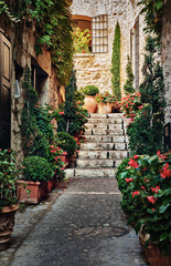 Narrow street with flowers in the old town