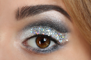 Makeup of a female eye. Close up