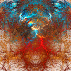 Brainstorming. Mental activity. The power of thought. Fractal art.