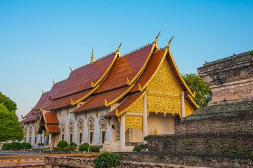 Gold church in thai temple, Thailand .