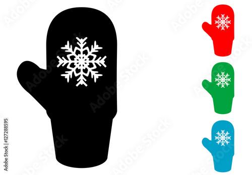 Icono plano manopla con copo nieve en varios colores\