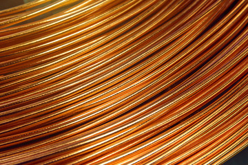 Closeup of Copper Cable being Rolled up in Preparation for Shipment at the Factory
