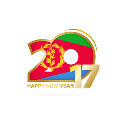 Year 2017 with Eritrea Flag pattern. Happy New Year Design on white background. Vector Illustration.