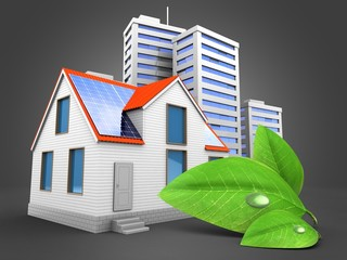 3d illustration of modern house over gray background with city and green leaf