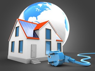 3d illustration of modern house over gray background with world globe and power cable