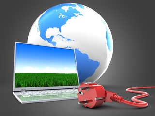 3d illustration of computer over gray background with world globe and power cord