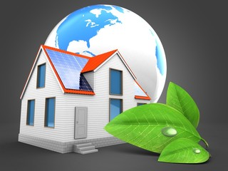 3d illustration of modern house over gray background with world globe and green leaf