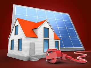 3d illustration of house over red background with solar panel and power cord