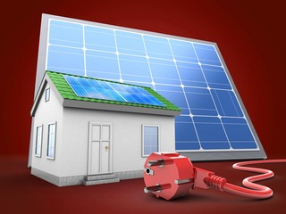 3d illustration of green house over red background with solar panel and power cord