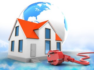 3d illustration of house over clouds background with world globe and power cord