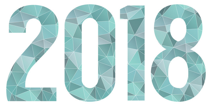 2018 Happy New Year vector blue low poly symbol isolated