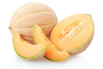 Cantaloupe melon section and slices on white, clipping path