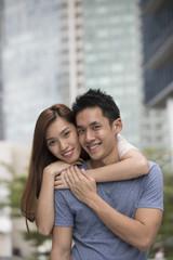 Happy Asian couple.