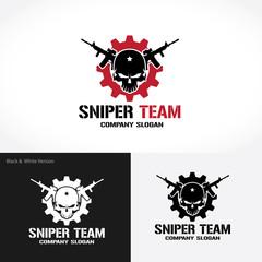 Sniper Team Logo, Game logo, Gun logo, Skull logo, Vector logo template.
