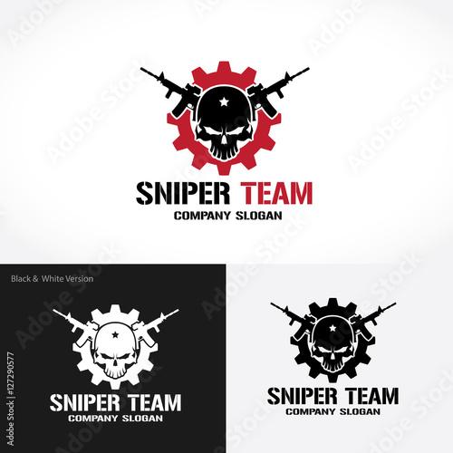 Sniper Team Logo, Game logo, Gun logo, Skull logo, Vector logo ...