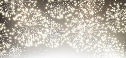 Gray festive banner with fireworks.