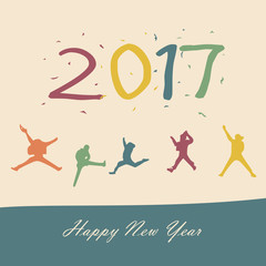 Happy new year 2017 - New Year Holiday design elements for holiday cards concept young people and best friends jumping with fun in colorful theme, for decorations Vector Illustration background eps10